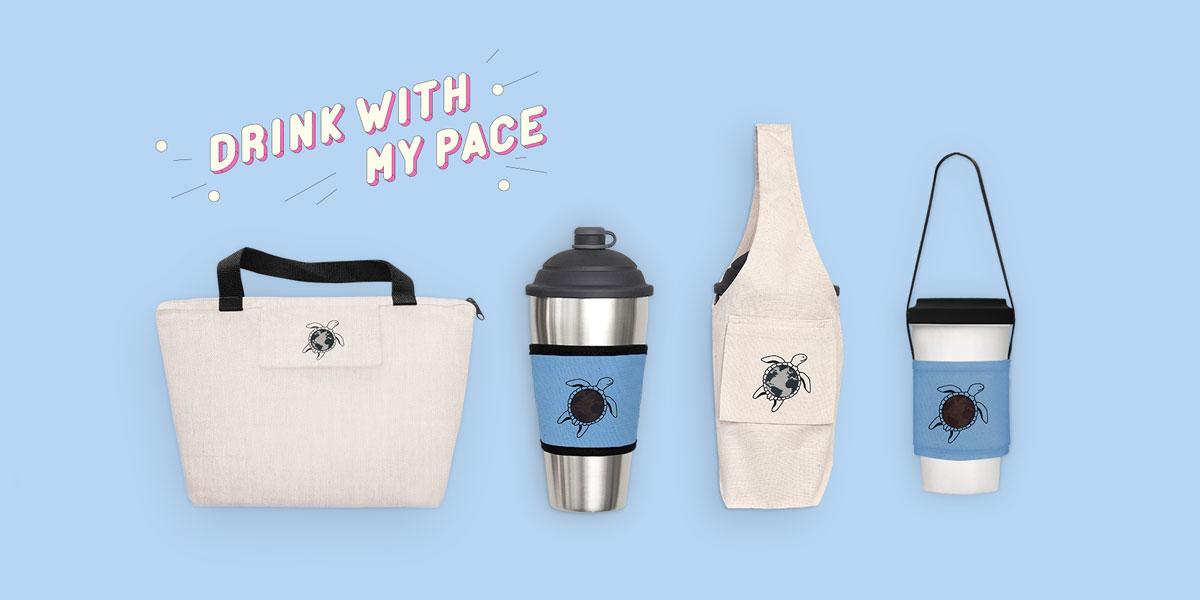 環保杯配備一次擁有,環保袋+環保杯+環保吸管
