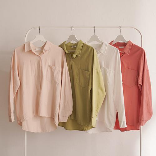 棉麻基本包色款襯衫