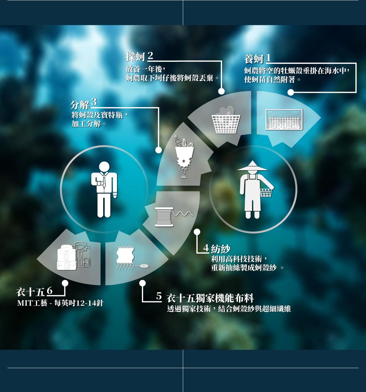 衣十五科技布料蚵殼紗流程