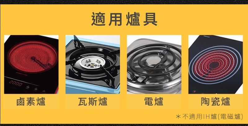頂級6+2層健康不沾鍋適用爐具:鹵素爐、瓦斯爐、電爐、陶瓷爐
