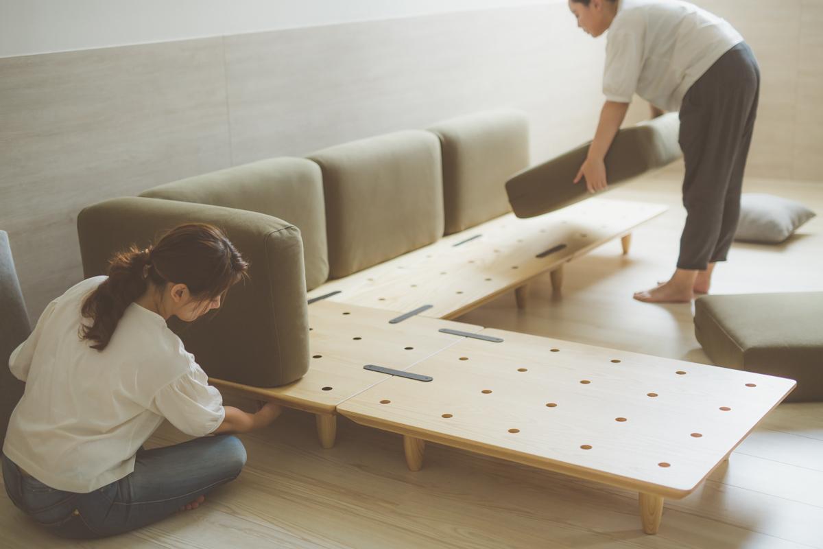 L型沙發,積木沙發,手工製作,自由變形