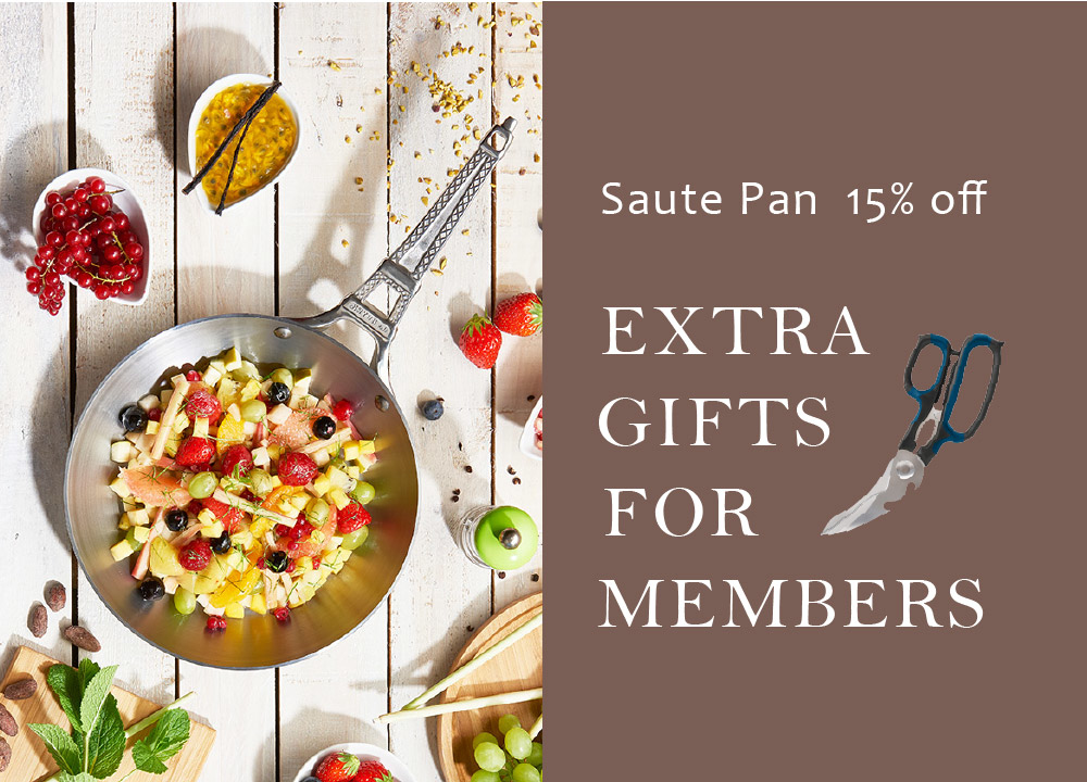 de Buyer Affinity French saute pan multilayer st/steel promo 15% off  for all + free gift for members
