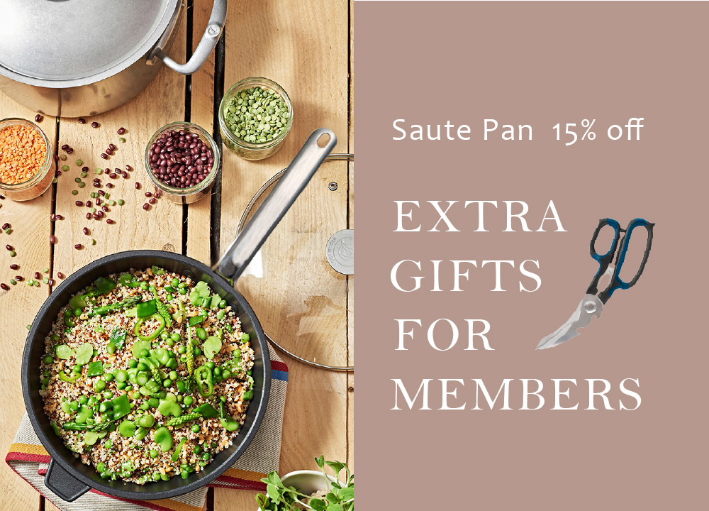 de Buyer Choc extreme nonstick saute pan 15% off, additional free gift for members