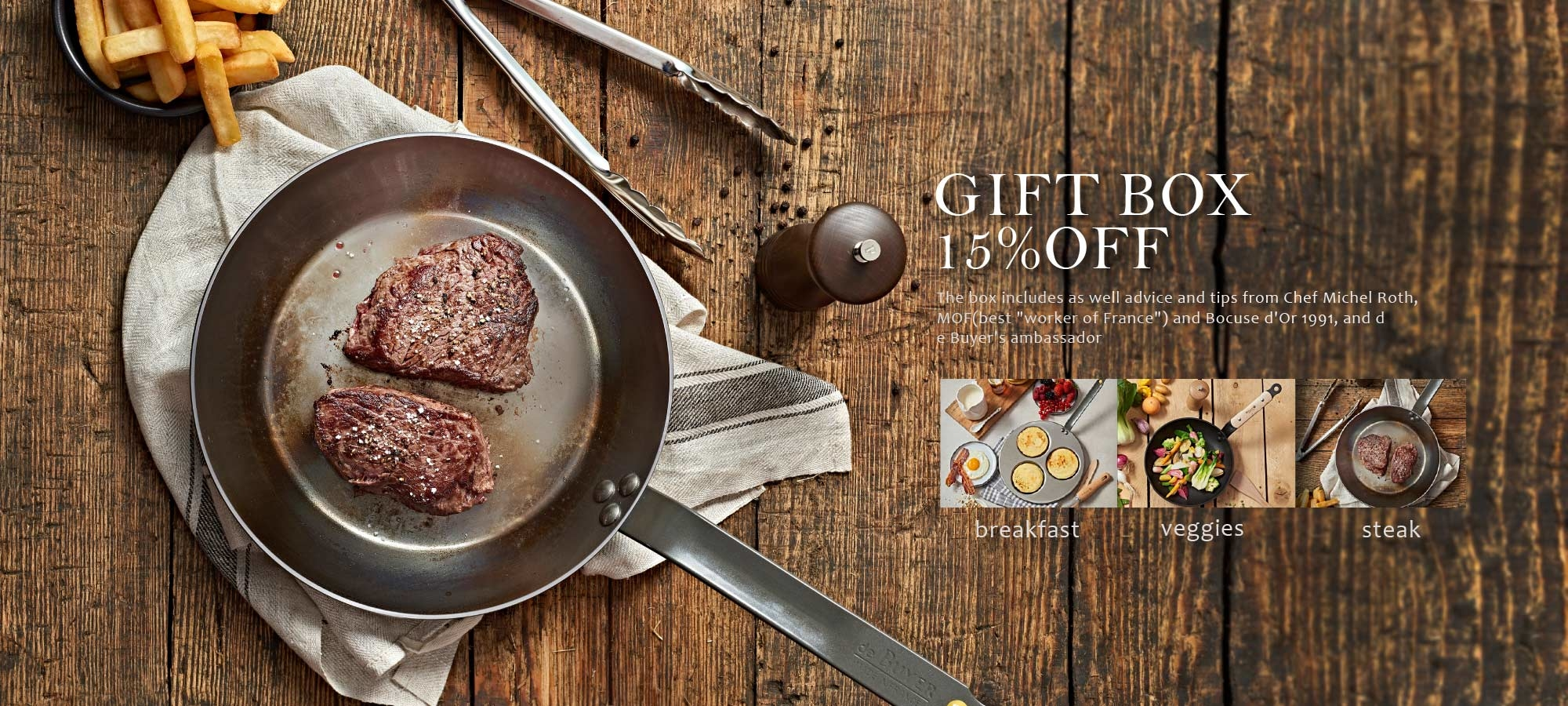 de Buyer frypan gift boxes 15% off all may - sets of iron or nonstick pans with utensils and mills for veggie or steak lovers