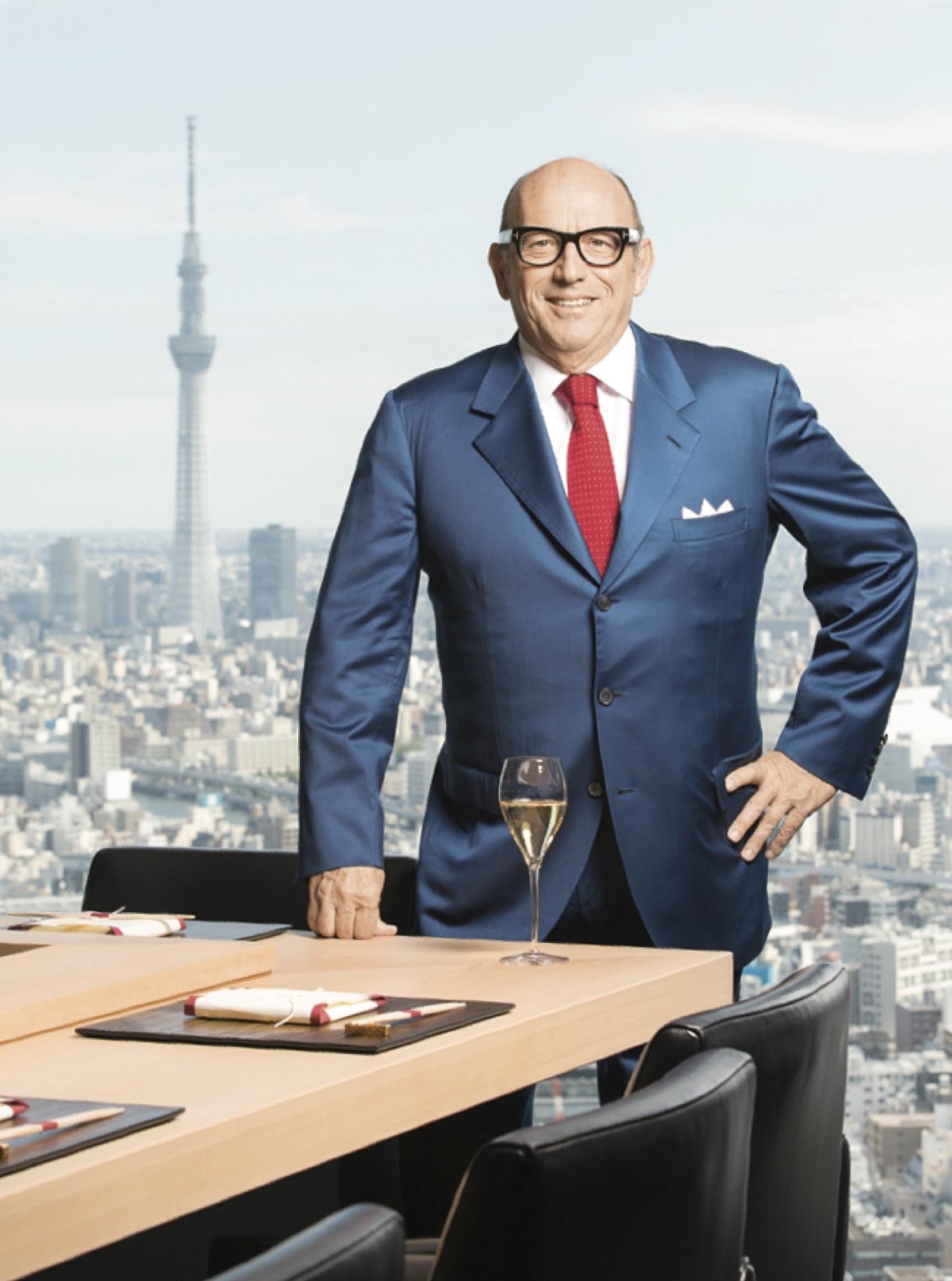 Maurizio Zanella, founder of the iconic Franciacorta wine estate of Ca' del Bosco at SushiOra at the Mandarin Oriental Tokyo.