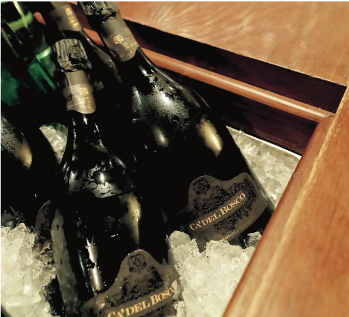 Ca'del Bosco bottles at the ready