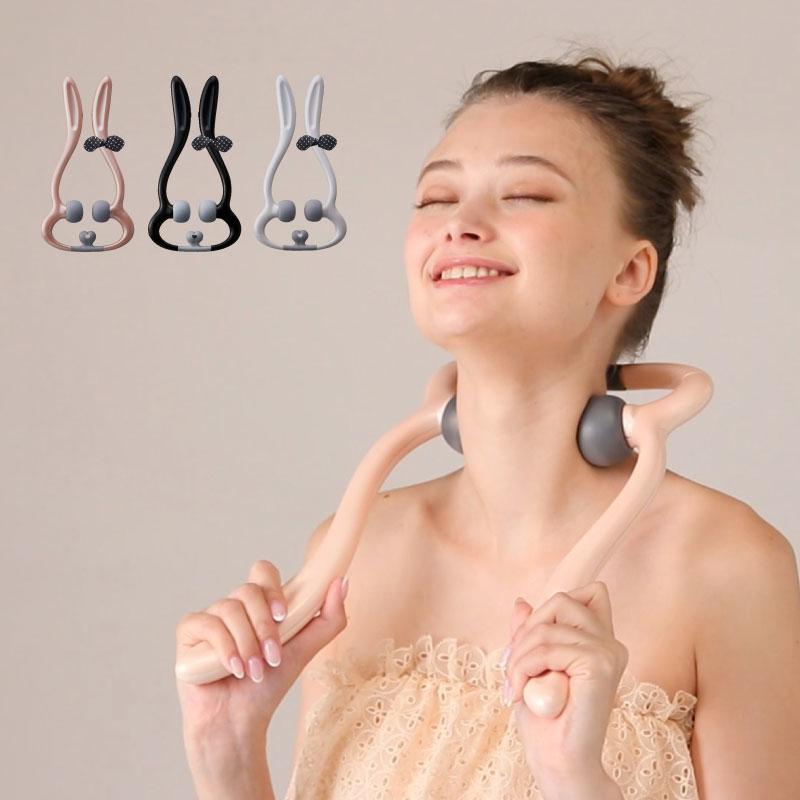 肩膀放鬆不求人,兔子造型手持振動按摩器,方便攜帶,按壓震動更有感。