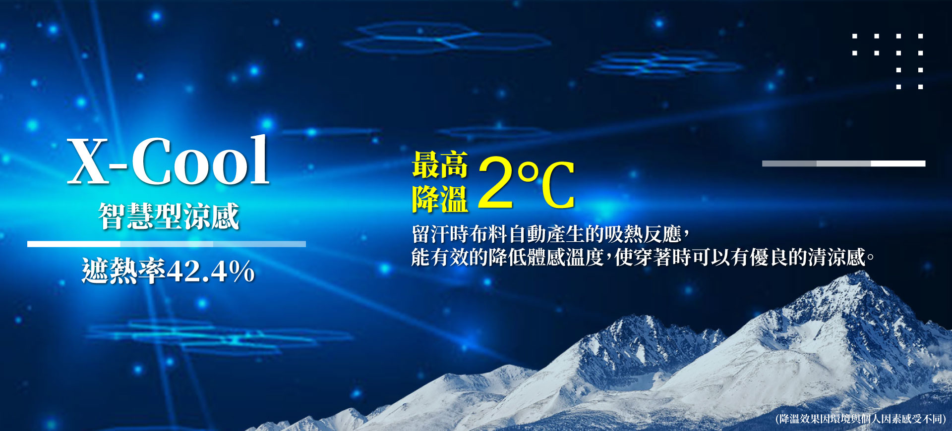 衣十五科技機能布料-蚵殼紗X-cold智慧型涼感 遮熱率高達42.4% 有感降溫2度