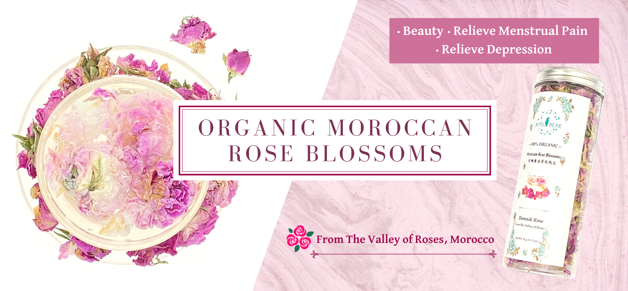 Organic Moroccan Rose Blossoms