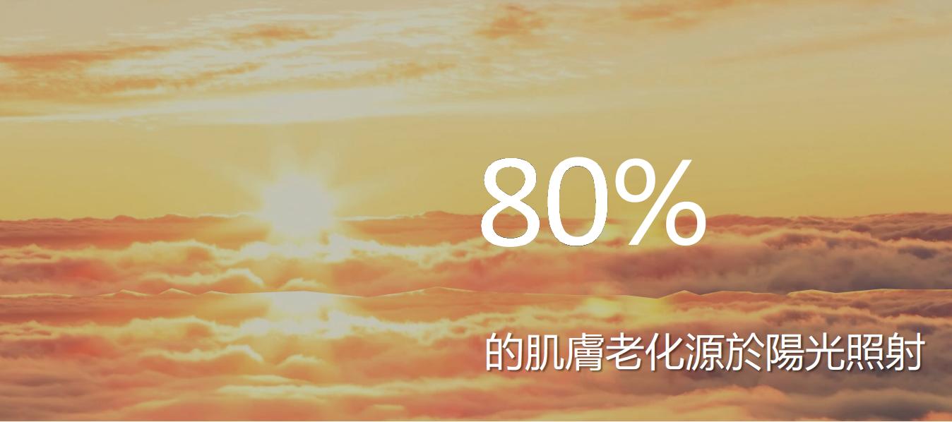 80%的肌膚老化來自於陽光照射