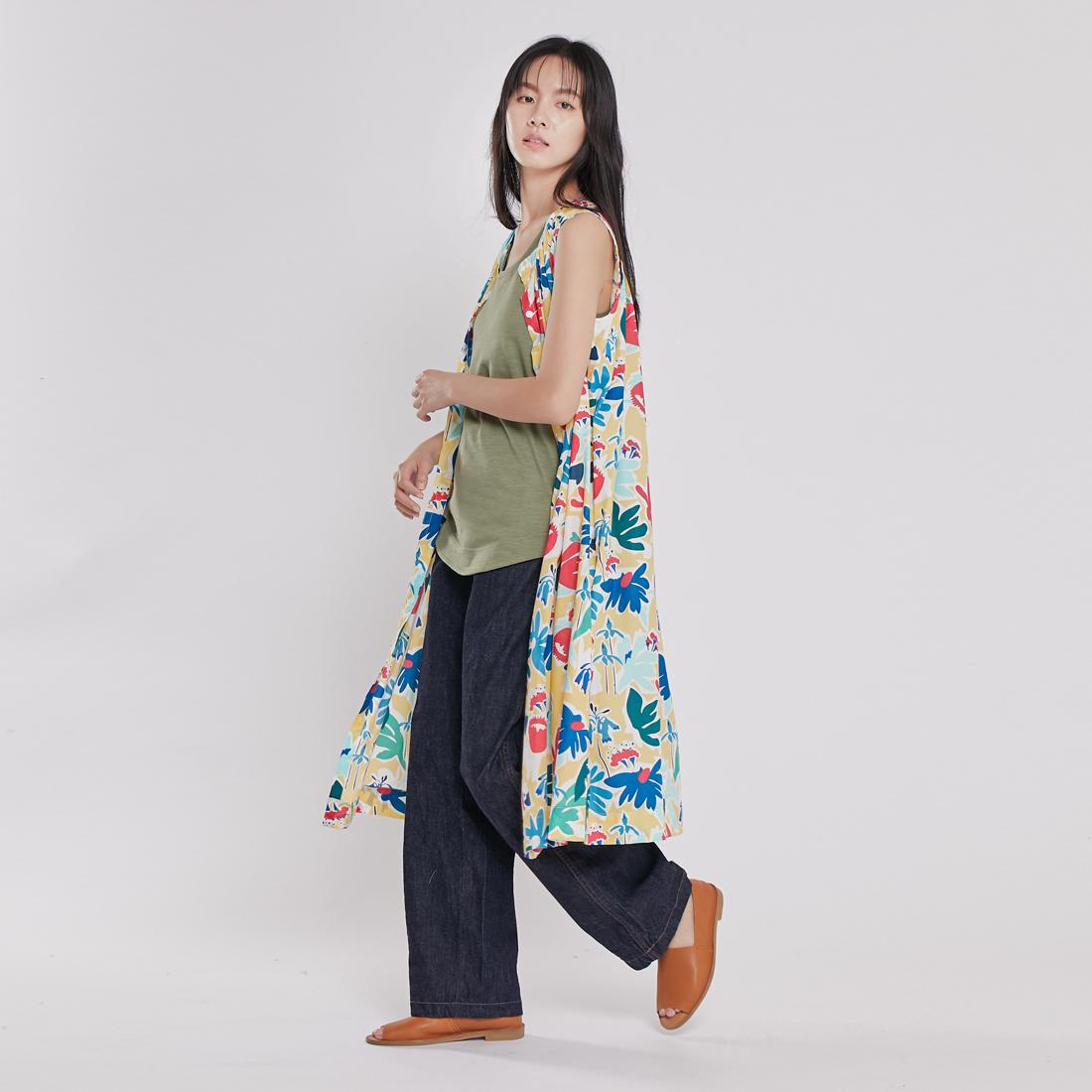 Birdie 無袖長版襯衫洋裝/繽紛黃