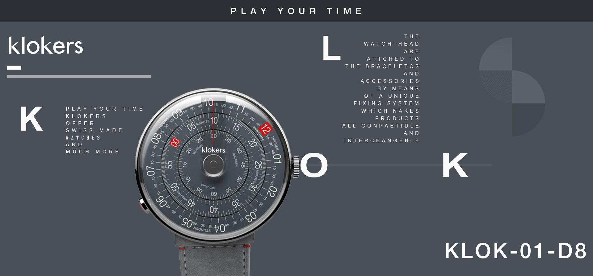 klokers KLOK-01-D8 深灰色錶頭 + 寬鐵灰色麂皮