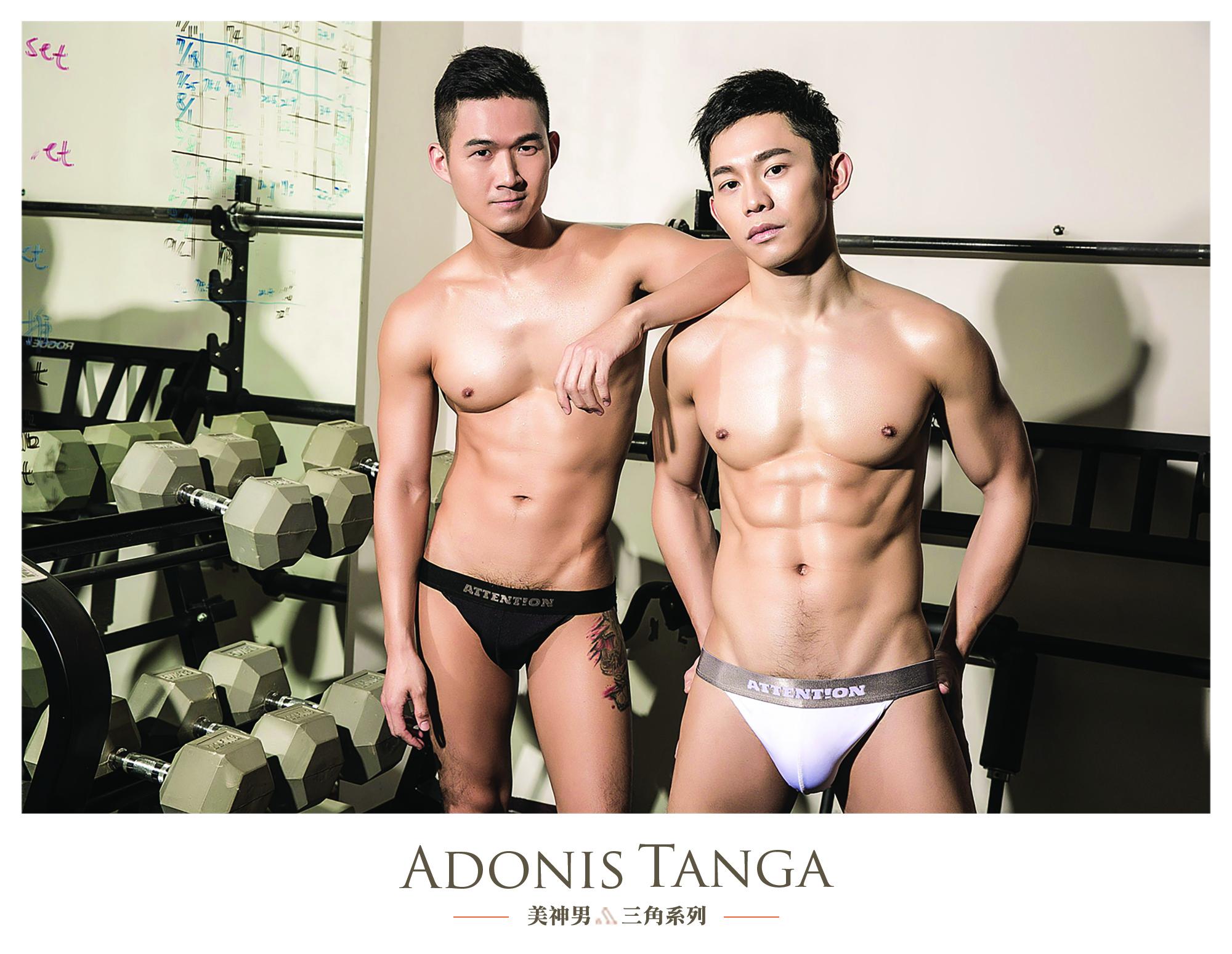 Attention Wear, Adonis tanga briefs, Tanga Briefs, 高開衩三角內褲, 美神男系列, 黑三角, 白三角, Black, White