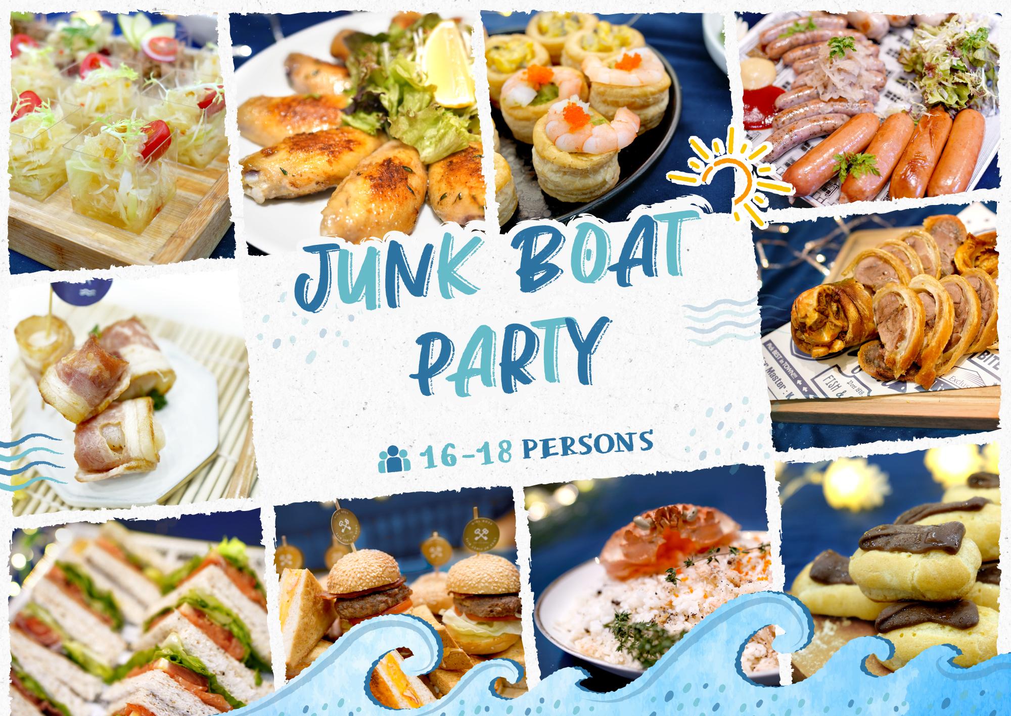 西貢到會推介|Junk Boat Party Set 食物份量適合16-18人的船P/船河到會派對享用