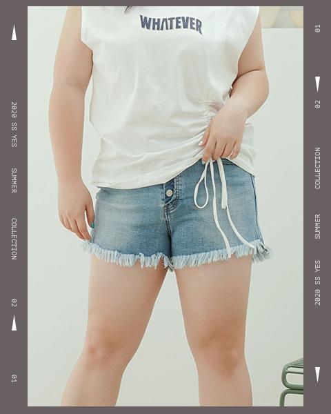 下抽鬚排釦牛仔短褲