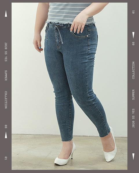 綁帶設計高腰牛仔褲