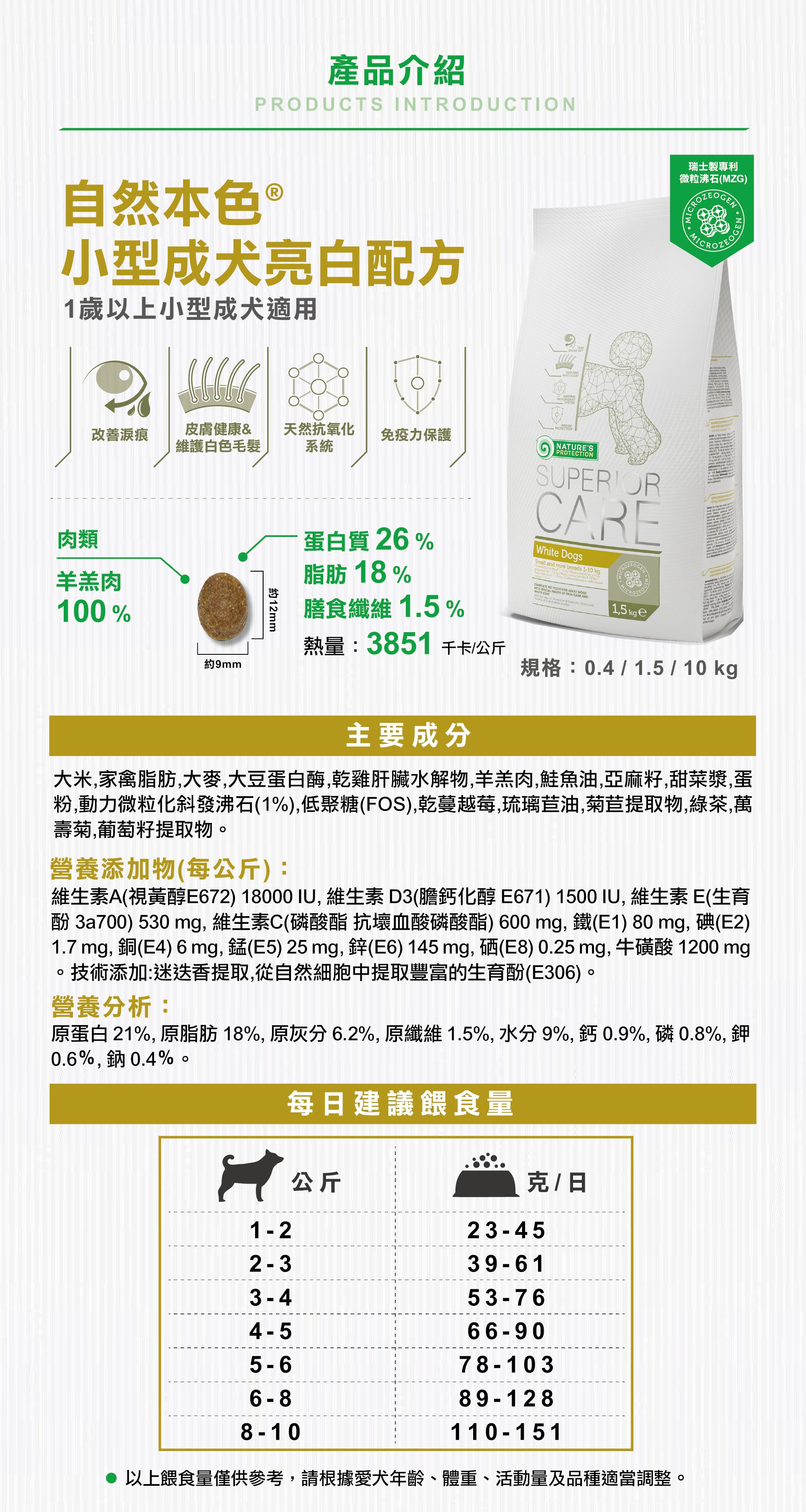 自然本色小型成犬亮白配方 產品介紹 餵食指南 顆粒 成分 營養分析 添加物