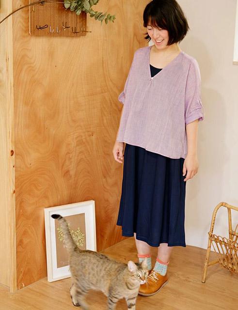 日光戀人V領罩衫上衣-紫柚