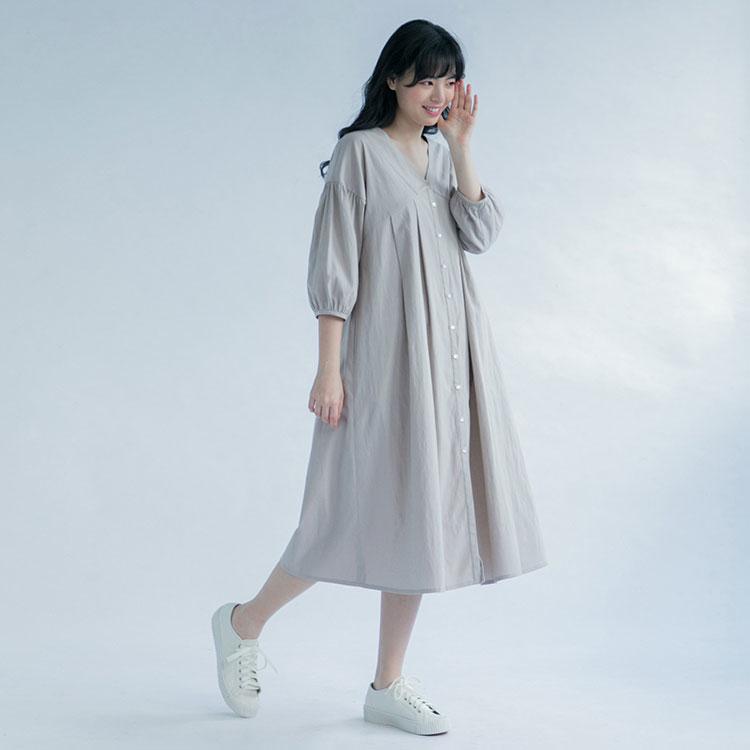 藍夏之約V領開襟洋裝-桑茶
