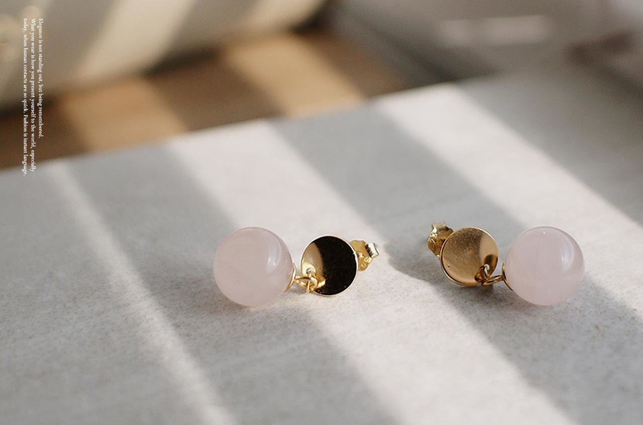 寧靜粉晶小球純銀耳環