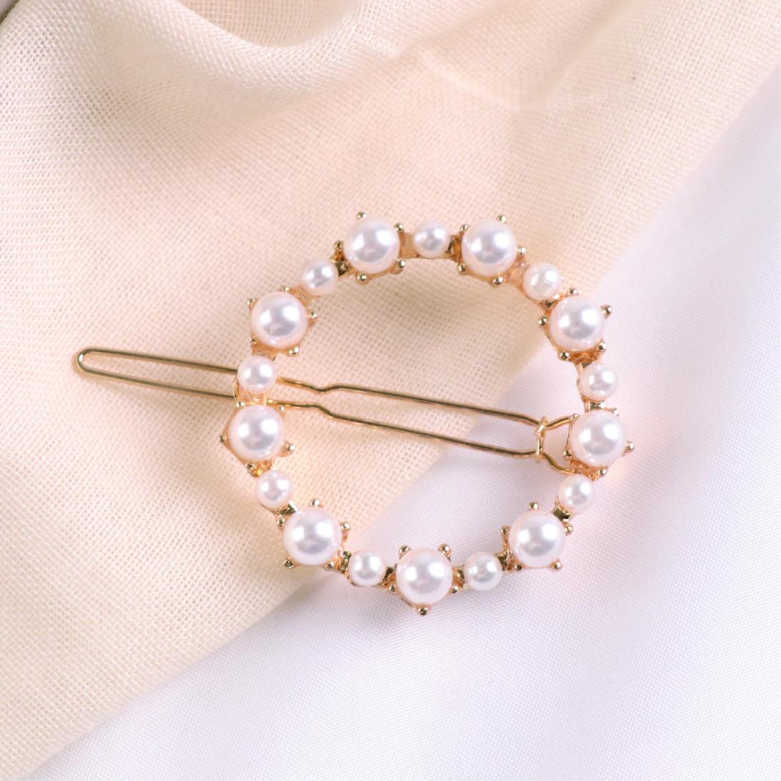 純粹珍珠圓形髮夾扣