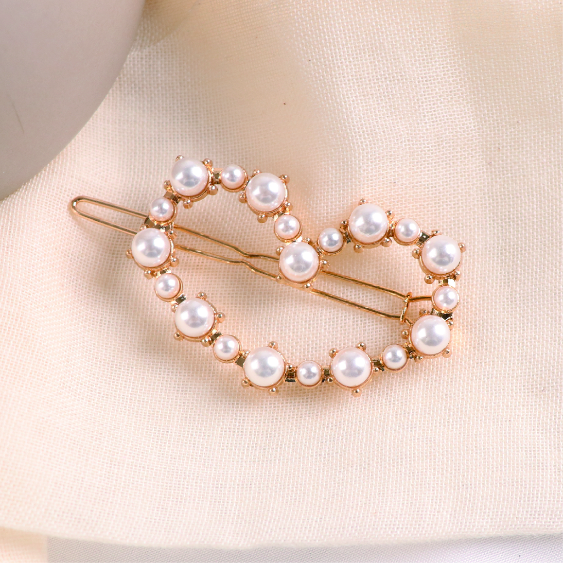 純粹珍珠愛心髮夾扣 / 2型