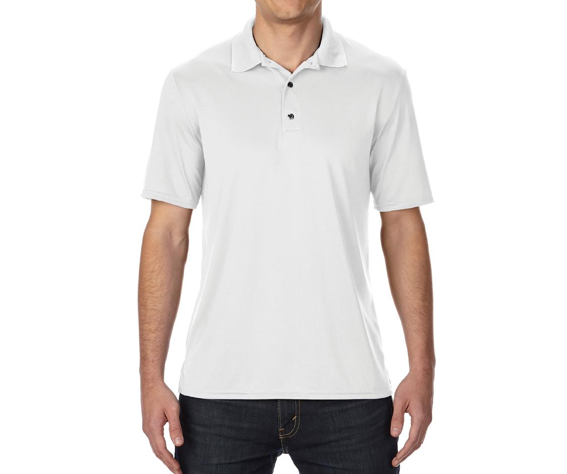 GILDAN P4BI00 - 4.6oz 白色亞規中性機能排汗抗紫外線網眼短袖POLO衫(正)