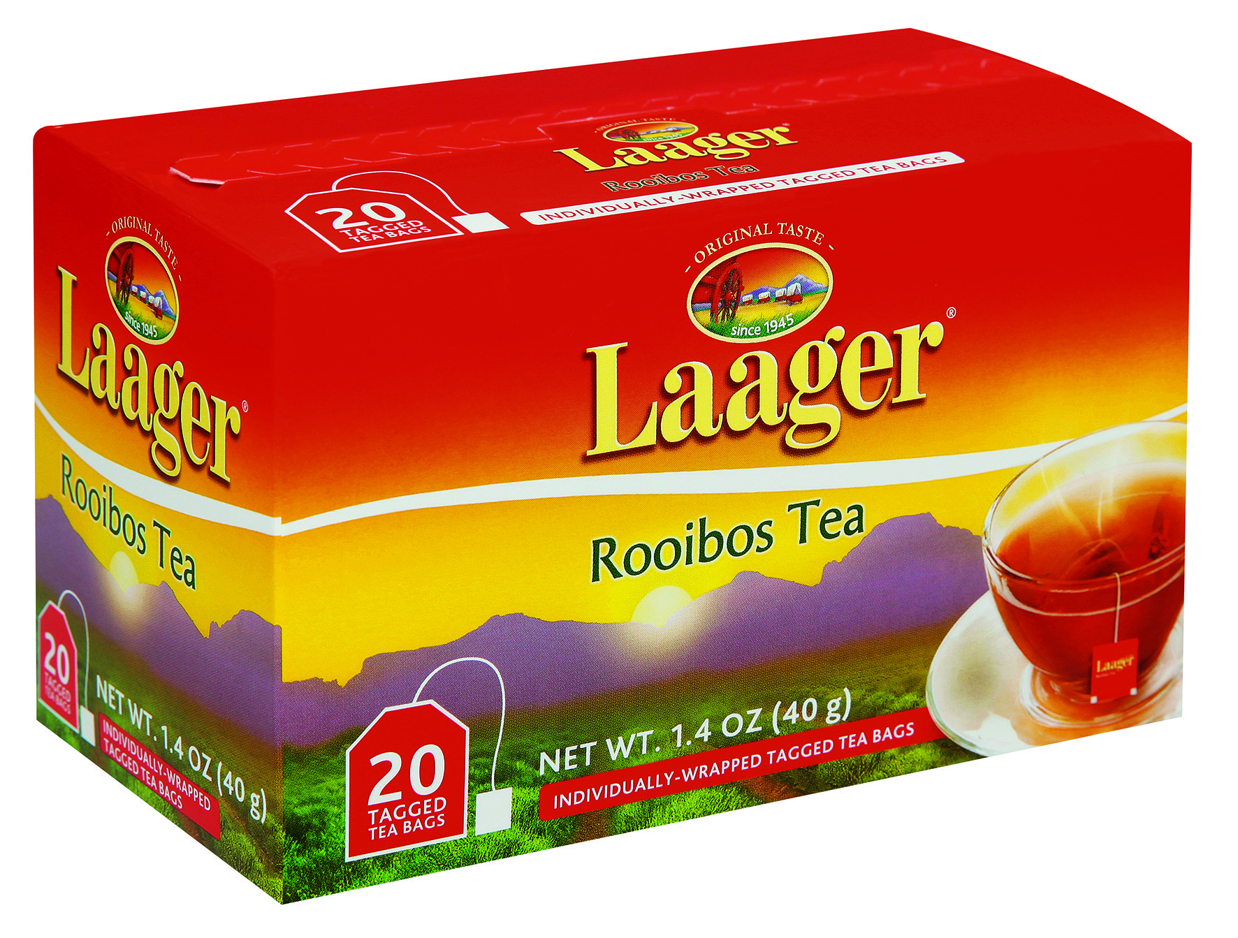 Laager Pure Rooibos 20's tagged teabags