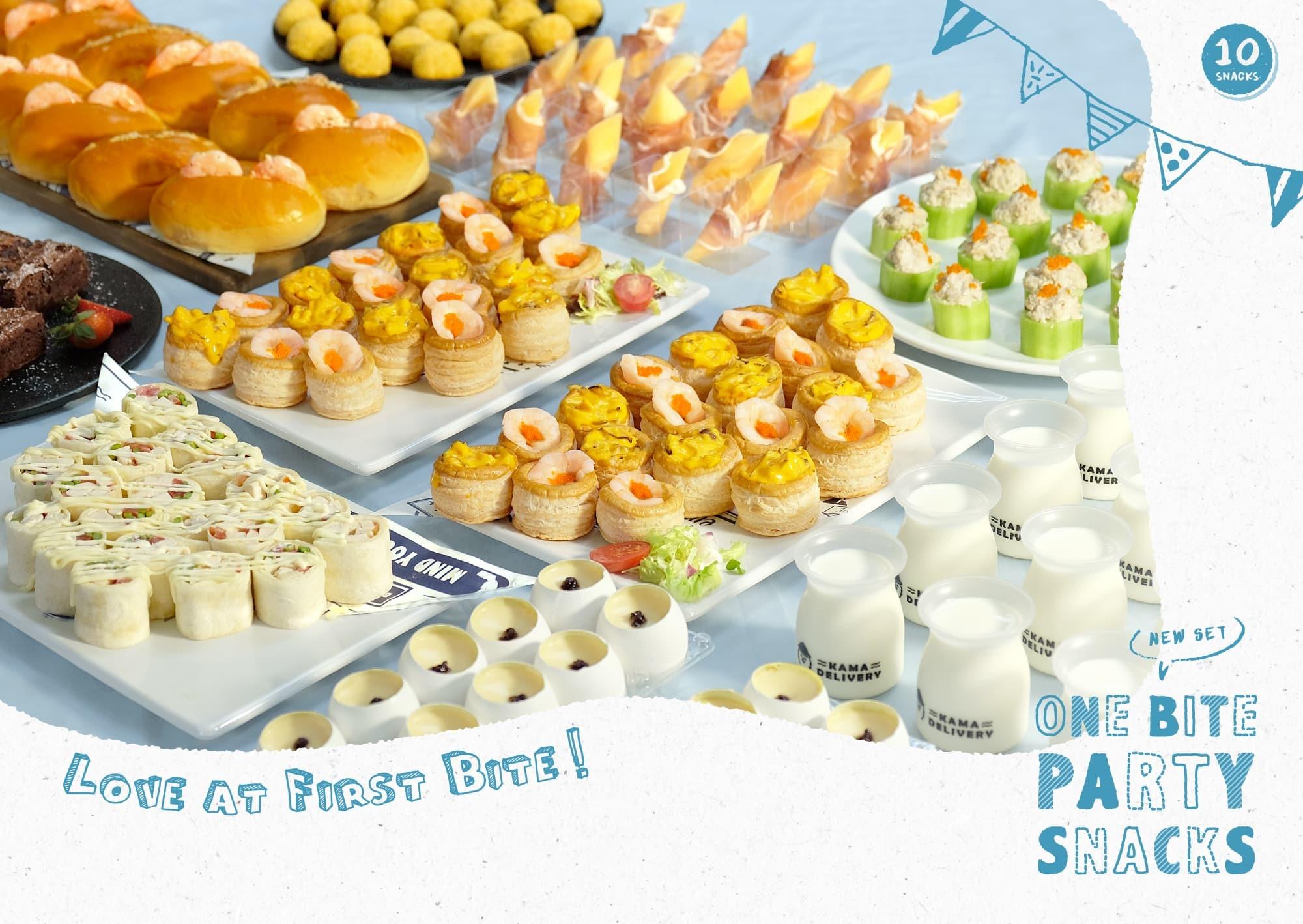 94人外賣套餐訂購 Kama Delivery炮製的一口派對小食Set適合在私人婚禮、晚會、百日宴、下午茶會、座談會、店舖開張、演講會、企業簡介會、公司講座、辦公室會議、慶功宴、員工午膳等場合享用。